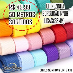 Kit Fitas gorgurão  Nº09 chinezinha 50 mts cores sortidos Pacotes 5mts x 10
