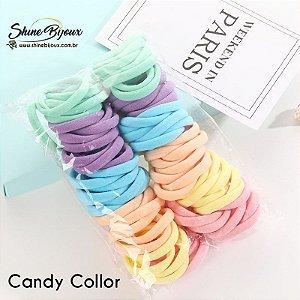 Elástico para cabelo Xuxinha rabicó tamanho médio Pct 100unidades Candy Neon