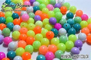 Conta bola plástica 8mm Candy  Collor e neon Collor