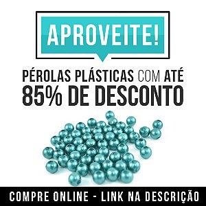 Pérola 12mm plastica 500grs  Furo Passante super oferta 70% desconto