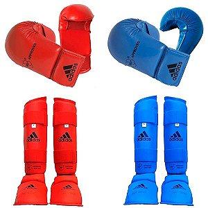 Kit Luva e Protetor de Canela Karate WKF Adidas