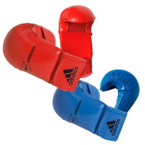 Kit Luvas Adidas Karate WKF sem polegar Azul e Vermelha