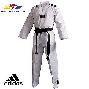 Dobok Kimono Adidas Adiclub 3 Listras Gola Branca