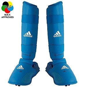 Protetor de Canela e Peito Pé Adidas Azul WKF 2012-2015