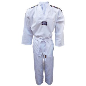 Dobok Kimono Taekwondo Sungja Olimpic Adulto Gola Branca com faixa