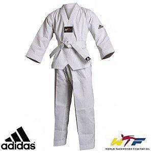 Dobok Kimono Taekwondo Adidas AdiStart Adulto Gola Branca com Faixa