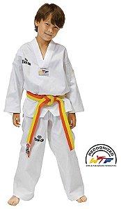 Dobok Kimono Taekwondo Daedo FIT Infantil Gola Branca com faixa