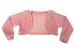 Casaco Juvenil de Plush Rosa com Babados no Ombro