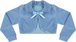 Casaco Infantil Plush Redondo c/ Gola Azul