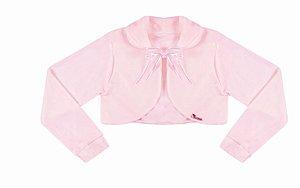 Casaco Infantil Plush Redondo c/ Gola Rosa