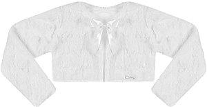 Casaco Infantil de Pele s/ Gola Off White