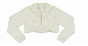 Casaco Infantil Plush Redondo c/ Gola Off White