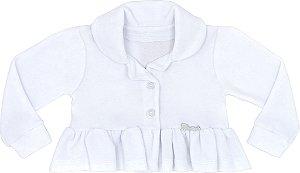 Casaco Infantil Plush com Gola Branco