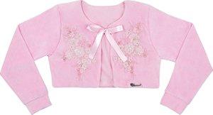 Casaco Infantil de Plush Rosa com Flores