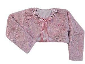 Casaco Infantil de Pele Redonda c/ Bordado Rosa