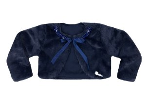 Casaco Juvenil Azul de Pele Redonda c/ Bordado