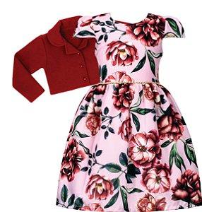 Vestido Juvenil Rosa Estampado casaco de lã batida vermelho