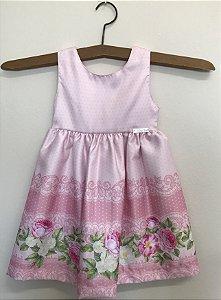 Vestido festa infantil barrado floral