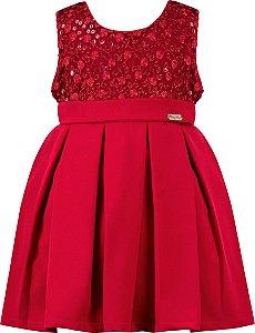 Vestido festa infantil peito renda e saia pregas vermelho