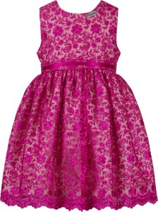 Vestido festa infantil renda pink com tiara
