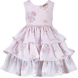 Vestido festa infantil babados estampado floral