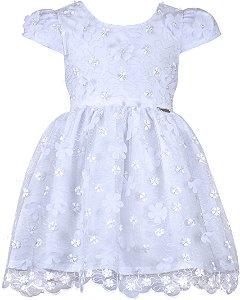 Vestido festa infantil branco renda com flores