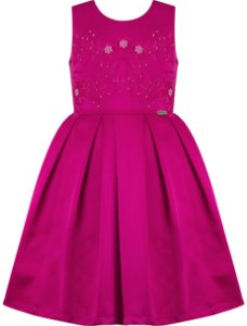 Vestido festa infantil pink com pregas