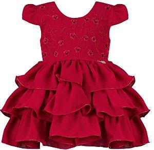 Vestido festa infantil babados vermelho e peito bordado