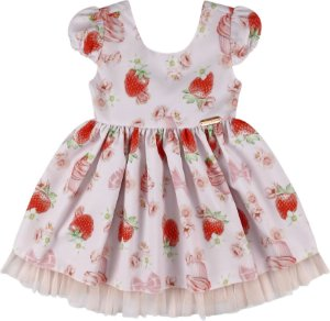 Vestido festa infantil morangos