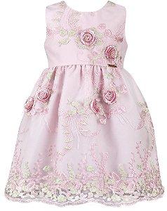 Vestido festa infantil renda rosa com flores