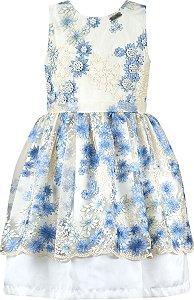 Vestido festa infantil renda azul com flores