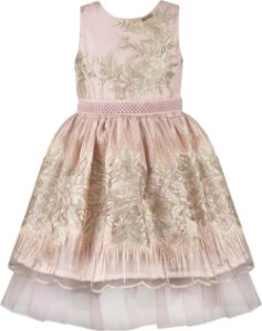 Vestido festa infantil renda rosa e dourado