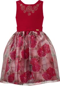 Vestido festa infantil com saia estampada e peito vermelho