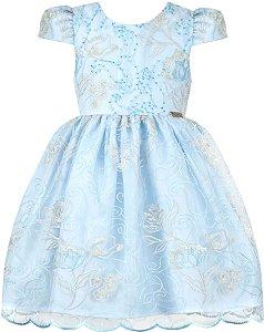 Vestido festa infantil renda azul com tiara