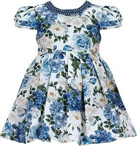Vestido Infantil Casual Estampado c/ Gola Perola