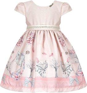 Vestido Infantil Casual Barrado Raposa