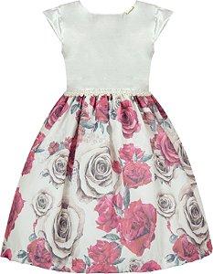 Vestido Infantil Casual c/ Saia de Flores