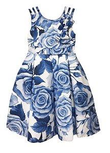 Vestido Infantil Chic Estampa de Rosas Grandes