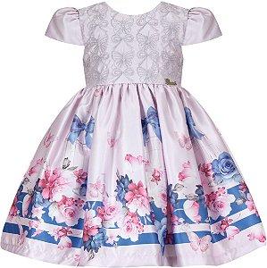 Vestido Infantil Casual c/ Barrado Gaiola