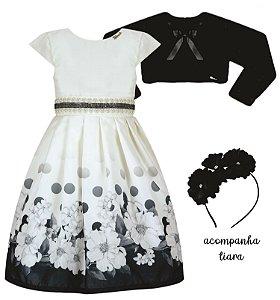 Vestido Infantil Chic Barrado Flores/Bola com Casaco de Pelo