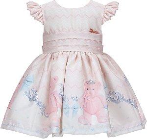 Vestido Infantil Básico com Barrado de Urso