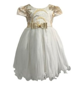 Vestido Infantil c/ Renda Dourada no Peito