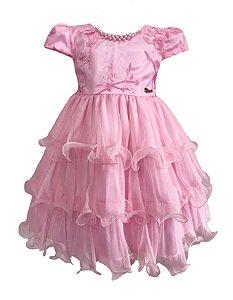 Vestido Infantil c/ Renda Rosa no Peito