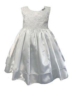 Vestido Infantil c/ Renda Branca no Peito