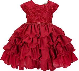 Vestido infantil Chic com Peito de Renda