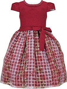 Vestido Infantil Casual Flores/Xadrez