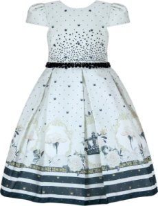 Vestido Infantil Casual Mini Coroas