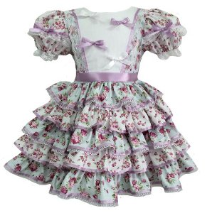 Vestido Infantil Junino Laços