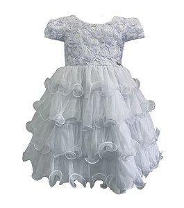 Vestido Infantil com Renda e Paetê Branco