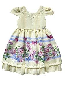Vestido Infantil  Barrado de flores